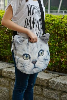 Cat cross body cat tote bag cat portrait bag cat by BENWINEWIN, $35.90