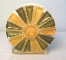 Vintage Acrylic Lucite Yellow Green Flower Napkin Letter Holder