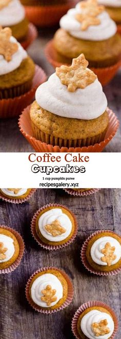 PUMPKIN PIE CUPCAKES Pumpkin Pie Cupcakes, Baking Cupcakes, Pumpkin Dessert, Cupcake Recipes, Cookie Recipes, Pumpkin Recipes, Coffee Dessert, Coffee Cake, Fall Desserts