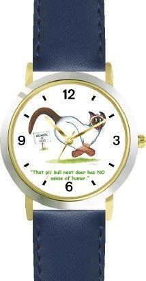 Siamese Cat Escaping Pit Bull - Cat Cartoon or Comic - JP Animal - WATCHBUDDY® DELUXE TWO-TONE THEME WATCH - Arabic Numbers - Blue Leather Strap-Size-Children's Size-Small ( Boy's Size & Girl's Size ) WatchBuddy. $49.95. Save 38%!