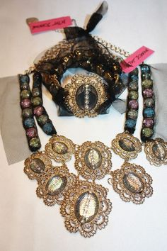 NEW! NWT! Betsey Johnson Filigree Multi Stone Statement Necklace & Bracelet $250 / $149.95 #BetseyJohnson