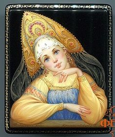 Russian lacquer miniature from the village of Fedoskino #folkart