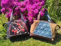 Duo de sacs Javas en liège luxe et imprimés cousus par Audrey - Patron Sacôtin