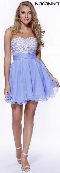 Strapless Sweetheart Sweet 16 Dress Periwinkle #discountdressshop #sweet16dress #periwinkle #shortformaldress #prom #partydress