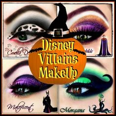 Disney Costume Disney Villan Makeup Looks - A collection of 21 creepy and cool Halloween Face Painting Ideas that range from disney to fairy to creepy. Halloween Face Painting adds to every costume! Disney Villains Makeup, Disney Makeup, Disney Villian, Disney Halloween Makeup, Maleficent Makeup, Disney Characters, Disney Inspired Makeup, Villains Party, Maquillaje Halloween