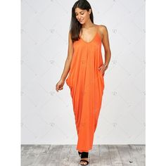 Orange Cami Summer Casual Maxi Dresses ($14) ❤ liked on Polyvore featuring dresses