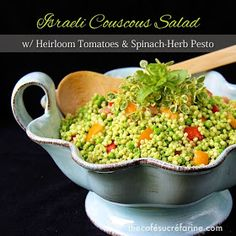 Israeli Couscous Salad with Heirloom Tomatoes + Spinach & Herb Pesto