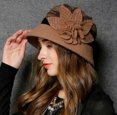 Handmade flower wool winter hats elegant bucket hat for lady 17944a8a3576