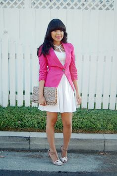 Spotted blogger Katy looking chic in a Charlotte Russe white dress and pink blazer. See more of her #ootd on her blog -  Katy009 Fashion Agent: Little White Dress