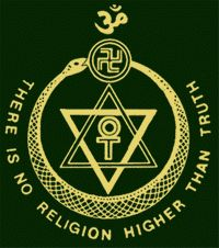 """Reproduction of the Theosophical Society emblem with the Society motto and the Egyptian cross, the star of David, the swastika, a serpent eating its tail and the Hindu symbol aum"""
