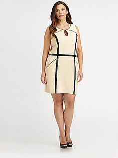Another under a $100 deal from Saks..check it out ladies  Sheri Bodell, Salon Z Faux Leather-Detail Sheath Dress
