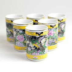 #Vintage #Retro #Japanese Traditional #Phoenix or #Pheasant #Art #Tea #Cups #Gift Idea by OneRustyNail on #Etsy