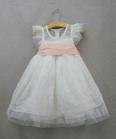 White & Pink Flutter-Sleeve Dress - Toddler & Girls by Sweet Charlotte #zulily #zulilyfinds