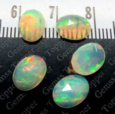 Ethiopian Opal Rose Cut 5x7mm Faceted Cabochons by gemsstopper