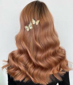 Auburn Peach Hollywood Waves Peach Hair Dye, Peach Hair Colors, Pastel Pink Hair, Hair Color Pink, Lilac Hair, Carmel Hair Color, Hair Colours, Hair Color For Morena Skin, Hair Color For Women