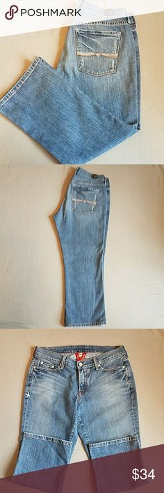 Lucky Brand Classic Rider Crop SZ 6 / 28 Lucky Brand Crop,  Slight Distressing, Contrast Stitching (White  & Orange) Great Condition. Posh does not allow returns for size so please ask all questions before purchasing. Thanks for looking! Jeans Ankle & Cropped