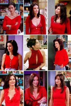 Rachel is what i wd want to dress like…bt tbh I AM A MONICA in real life !at least what she wore is damn easy on our pockets….Her top 10 Outfits : The one where 'no one could wear red like. Monica Friends, Joey Friends, Friends Tv Show, Courtney Cox, Friends Scenes, Friends Moments, Friends Forever, Look Fashion, 90s Fashion
