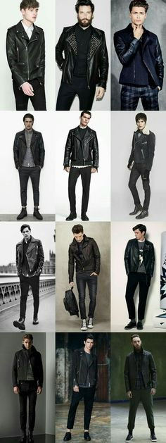 Mens 2014 Autumn/Winter Fashion Trend: Punk-Inspired The Biker Jacket Style L Fashion Moda, Punk Fashion, Fashion Trends, Sport Fashion, Fashion Outfits, Fashion Wear, Fashion Photo, Biker Jacket Outfit, Mens Biker Jacket