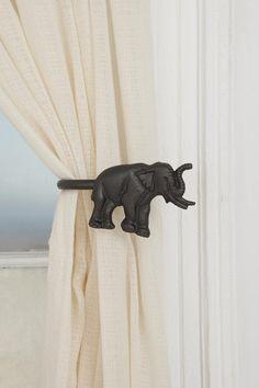elephant curtain holder