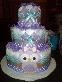 3-layer owl diaper cake; purple, teal, and grey