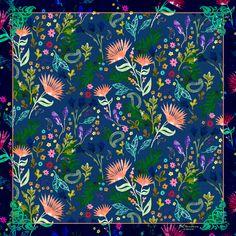 Hidden Tiles a designer silk scarf by BCbandana
