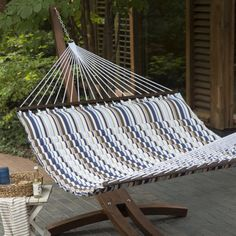 Island Bay 13-ft. Seaside Pillow-Top Double Hammock with Wood Arc Stand