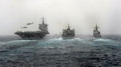 Aircraft Carriers Also Have Motherships - l to r, USS Enterprise, USNS Supply &   USS Vicksburg