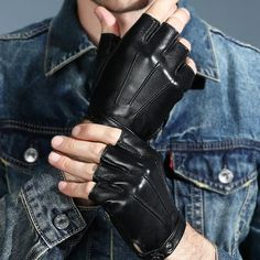 Men Women Genuine Leather Gloves Lovers Fingerless Mittens Black Half Finger Outdoor Tactical Mens Leather Driving Gloves AGB646