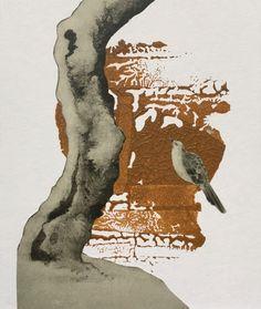Collage von Jutta Scheiner - Bird Call: Acryl, Collage auf Karton (Vogel Baum Gezwitscher Natur braun)
