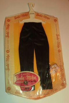 HTF Barbie & Midge *BLACK SATIN SLACKS~PAK Fashion* w Lt.Pink Glitter OT Heels #Mattel #ClothingShoes