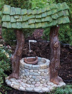 Fairy Wishing Well - Fairy Garden - Miniature Wishing Well - Fairy Garden decor - Fairy House - Fairy accessories - Fairy Garden Supplies Fairy Garden Houses, Garden Art, Garden Design, Fairy Gardening, Garden Kids, Fairies Garden, Fairy Village, Fairy Furniture, Miniature Furniture