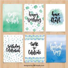 Abstract birthday card collection with phrases Free Vector Abstrakt bursdagskortsamling med fraser Gratis vektor Happy Birthday Clip Art, Creative Birthday Cards, Birthday Clips, Handmade Birthday Cards, Happy Birthday Cards, Birthday Crafts, Watercolor Birthday Cards, Birthday Card Drawing, Birthday Card Design