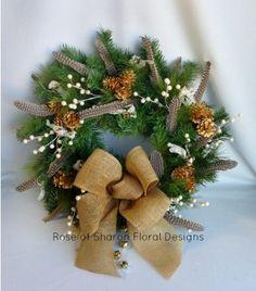 Christmas Wreath: Burlap & Bells in Fayetteville Ar, Rose of Sharon Floral Designs $65.00
