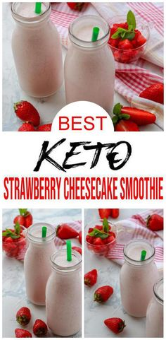 Keto Smoothie EASY keto strawberry cheesecake smoothie recipe Ketogenic diet smoothie w strawberry idea BEST low carb smoothie with your favorite cheesecake food recipe M. Smoothie Bowl, Keto Breakfast Smoothie, Keto Smoothie Recipes, Low Carb Smoothies, Easy Smoothies, Low Carb Breakfast, Shake Recipes, Breakfast Recipes, Ketogenic Breakfast