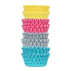 Cupcake Liners - Quatrefoil colors  Greaseproof, Colors stay bright after baking - even with dark colored cakes. No need to double liners - saves you time and money! 50 per package