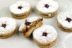 Linzer Cookies for the Raspberry Linzer Mousse Cake Mousse Dessert, My Dessert, Mousse Cake, Fancy Desserts, Just Desserts, Sweets Recipes, Cookie Recipes, Mirror Glaze Recipe, Famous Vegans