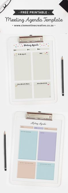 Free Pretty Printable Meeting Agenda Templates Notes template - meetings template