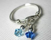 Dangle Ring Sapphire and Aquamarine Double Dangle Wire Wrapped Ring Sterling Silver With Swarovski Crystals -- Any Size