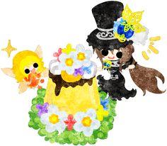 フリーのイラスト素材黒いシルクハットの少女と可愛い妖精と花のプリン  Free Illustration A black silk hat girl and a cute fairy and a flower pudding   http://ift.tt/2oFRNS4