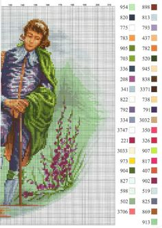 0 point de croix vintage femme et amoureux jardin - cross stitch vintage lady and her lover in garden 2