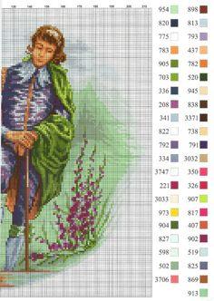 0 point de croix vintage femme et amoureux jardin - cross stitch vintage lady and her lover in garden 2