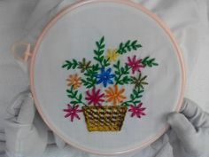 Hand Embroidery - Basket Flowers Stitch - YouTube