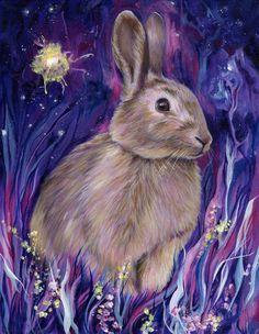 Kaninchen Geist Druck, Bunny, tierische Malerei, Wald Wald Tier, Geist-Tier, Totem Tier, vertraut, Geistführer, Mond, lila