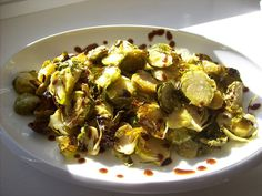 red or green?: roasted brussels sprouts with garlic & red pepper flakes  #fallfest