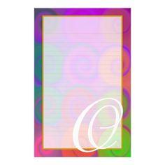 "O Monogram ""Colorful Swirls"" Fine Lined Stationery"