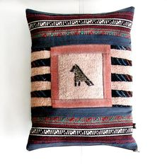 Decor Patchwork Throw Pillow, Embroidered Bird Motif Cushion, Throw Patchwork Pouf, Decor Kilim Pillow, Bohemian living,  (46x34 cm)
