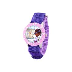 Disney Girls' Doc Mcstuffins Stainless Steel Case with Bezel Watch - Purple