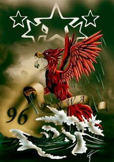 Liverbird rising out of the storm for the 96
