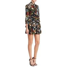 Alice + Olivia Breann Tiered Tie-Neck Dress ($296) ❤ liked on Polyvore featuring dresses, flower printed dress, floral pleated dress, flower print dresses, 3/4 sleeve dresses and neck ties
