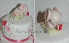 Girls Elephant themed Christening Cake